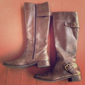 Brown Knee Length Leather Boots